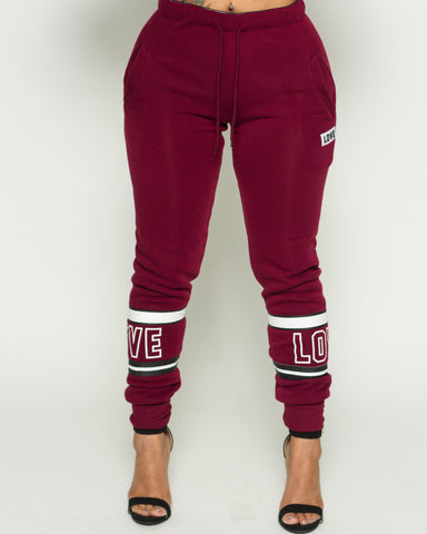 Love Stripe Fleece Jogger (Available in 5 colors)