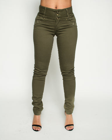 Olive Three Button Jeans