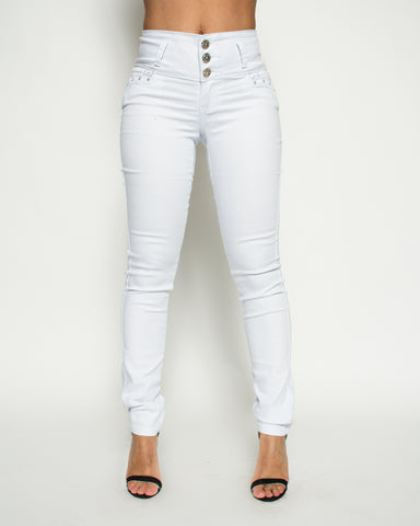 Three Button Stretch Jeans