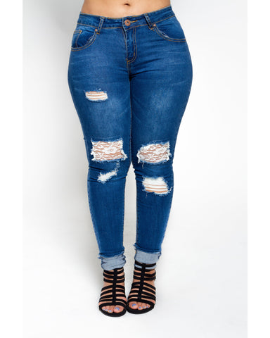 Rips With Lace Patch Jeans