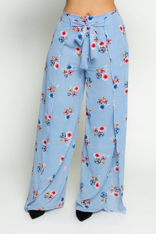 Stripe Floral Palazzo Pants (Available in 2 colors)