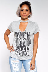 Rock & Roll Choker Neck Tee (Available in 6 Colors)