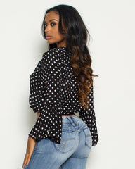 VIM VIXEN Polka Dots Bell Sleeve Top - Black - ShopVimVixen.com