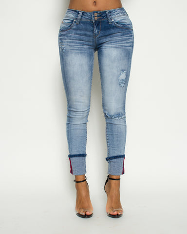 Two Button Cuff Rips Skinny Jean