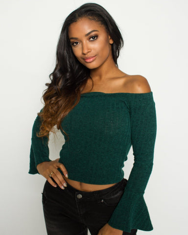 Bell Sleeve Off The Shoulder Sweater (Available in 3 colors)