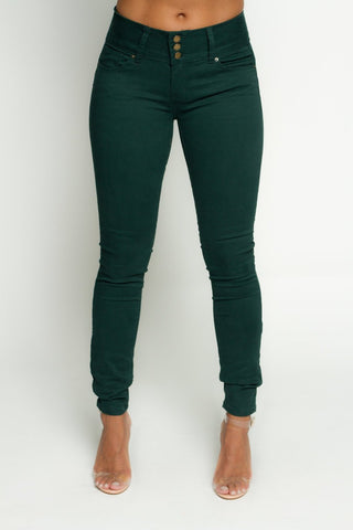 Hunter Green Three Button Twill Push Up Jeans