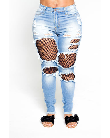 Ripped High Waist Jeans With Mesh Insert