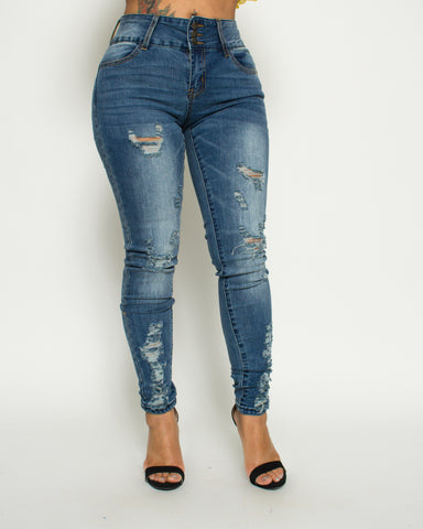 Three Button Rips Push Up Closed Bottom Jeans