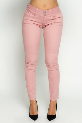 Mauve Three Button Twill Push Up Jeans