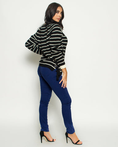 Stripe Side Lace Up Sweater (Available in 2 colors)