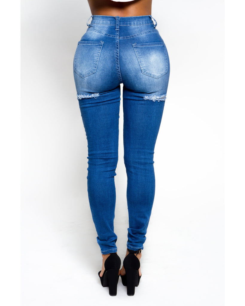 Ripped Front And Back High Waist Jeans