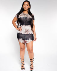 S/S Tye Dye Lace Up Fashion Dress (Available in 3 colors)