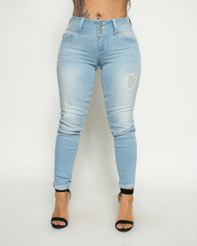 Three Button Rips Cuff Skinny Jeans