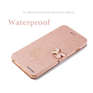 6 7 Luxury Leather Wallet Flip Case For iPhone 7 6 6s Plus SE 5 5s SE Fashion Butterfly Silk Cover With Card Slot Stand Holder