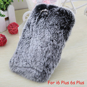 Elegant Soft Fluffy rex rabbit hair fur plush Back cover for Iphone 6 6s 6 Plus 6s Plus Bling Crystal Diamond Bow For Girl Lady
