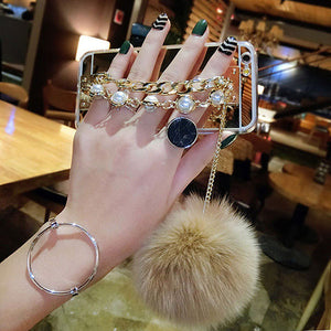 Fashion Plating Mirror Case For iPhone 7 6 6S Plus Fundas Ultra Thin Clear Soft TPU Cover With Pearl Chain Tassel Fur Ball Shell