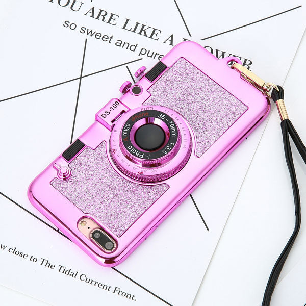 Luxury 3D Retro Camera Phone Cases For iphone 7 6 6s Plus Case Fashion Plating Soft Back Cover Long Strap Rope With Stand Holder