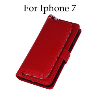 Luxury Leather Flip For Iphone 7 6 6s Plus Cover 2 in 1 Removable Wallet Case With Card Slot Stand Holder Phone Pouch Bags Purse