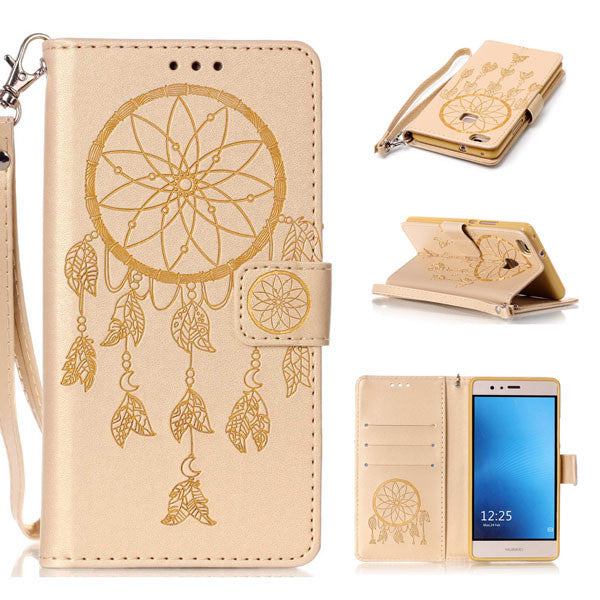 Phone Cases For Huawei P8 P9 Lite G9 Case Retro Embossed Dreamcatcher Leather Flip For Huawei Y5 Y6 II Wallet Cover Shell Capa