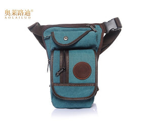 High Quality Canvas Men Waist Leg Drop Bag Motorcycle Belt Bum Hip Purse Pouch Vintage Trend Crossbody Messenger Shoulder Bags