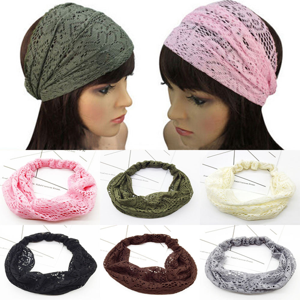 46-60CM Hollow Out Lace Headband For Women Head Wrap Wide Flower Hairband Hair Band Turban Headband