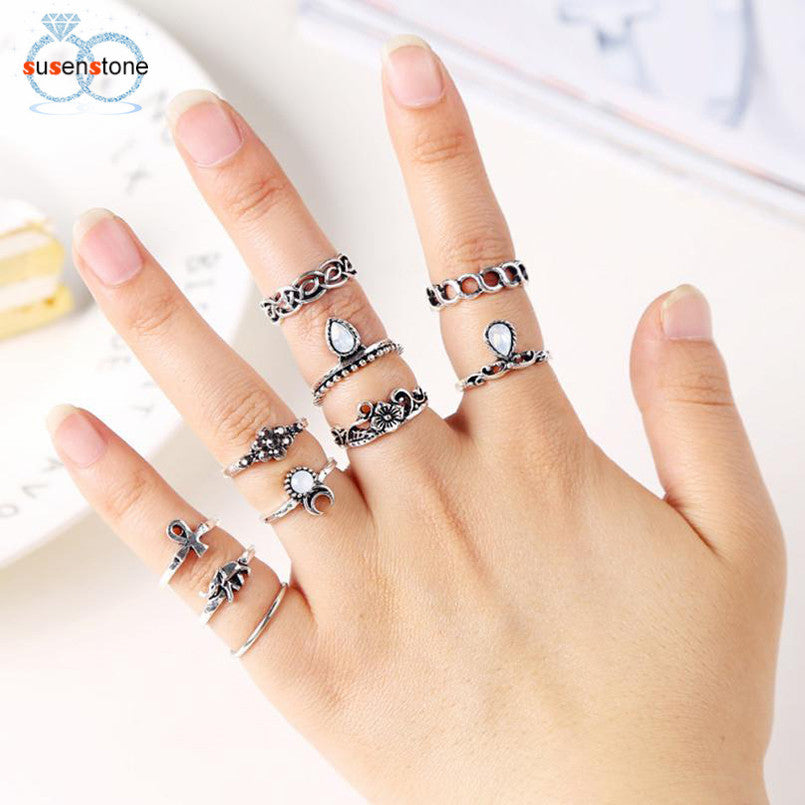 SUSENSTONE 10PC Flowers Moon Band Above Middle Knuckle Alloy Rings Set