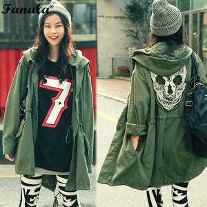 2017 Women Coat Back Skull Army Green Loose Hooded Trench Coats Single Breasted Long Casual Solid Color Outerwear