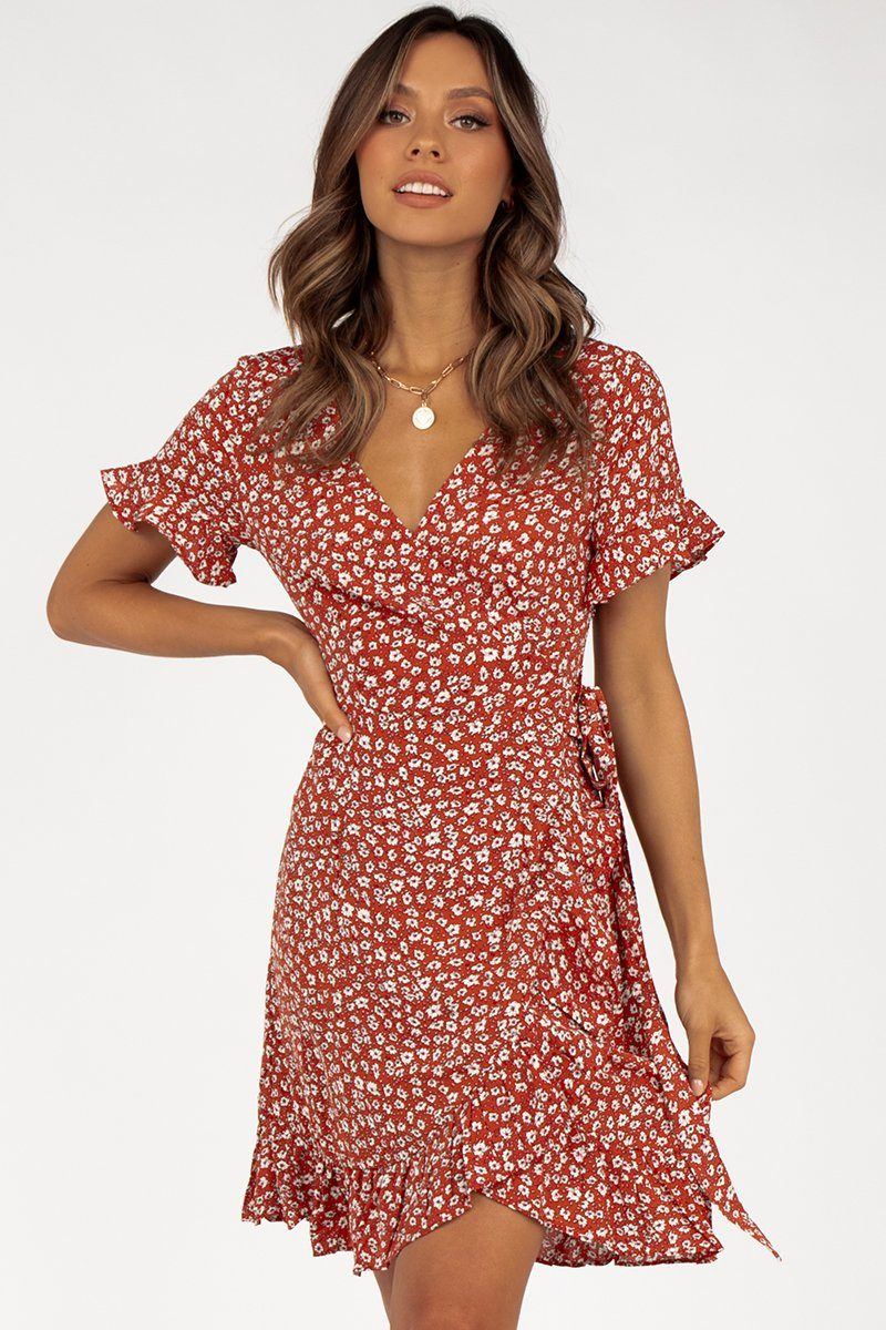 PENELOPE RED FLORAL WRAP DRESS