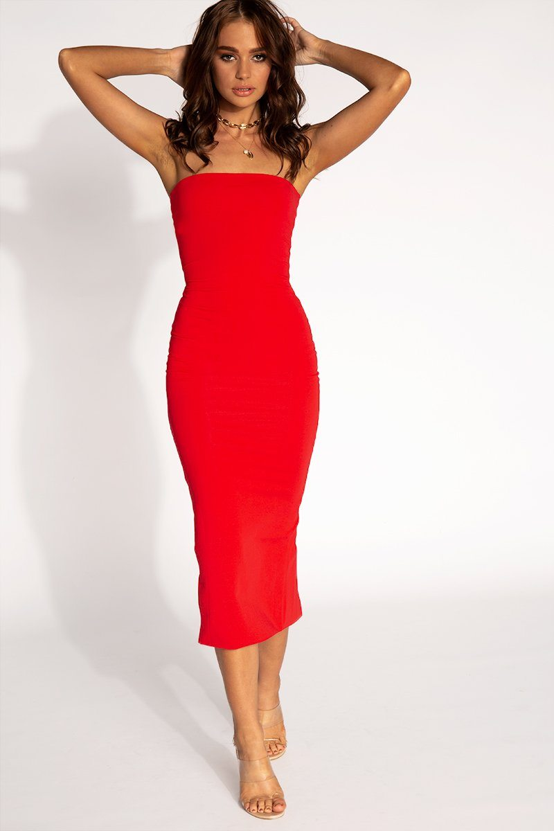 36bbfd5b7c60 LAYLA RED STRAPLESS MIDI DRESS Clothing DISSH Boutiques 8 RED ...