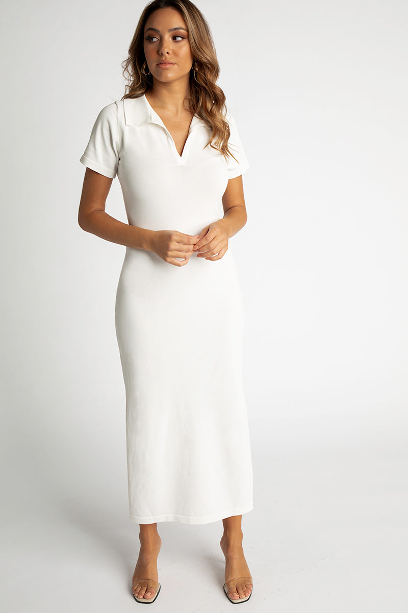 MILANO WHITE COLLAR KNIT MIDI DRESS Clothing DISSH EXCLUSIVE M WHITE