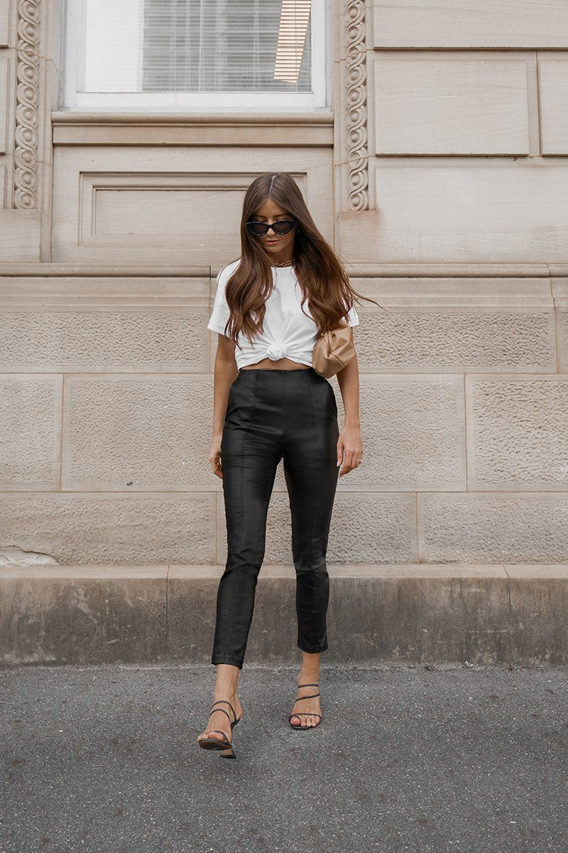 NIGHT OUT FAUX LEATHER PANTS Clothing DISSH Boutiques 6 BLACK