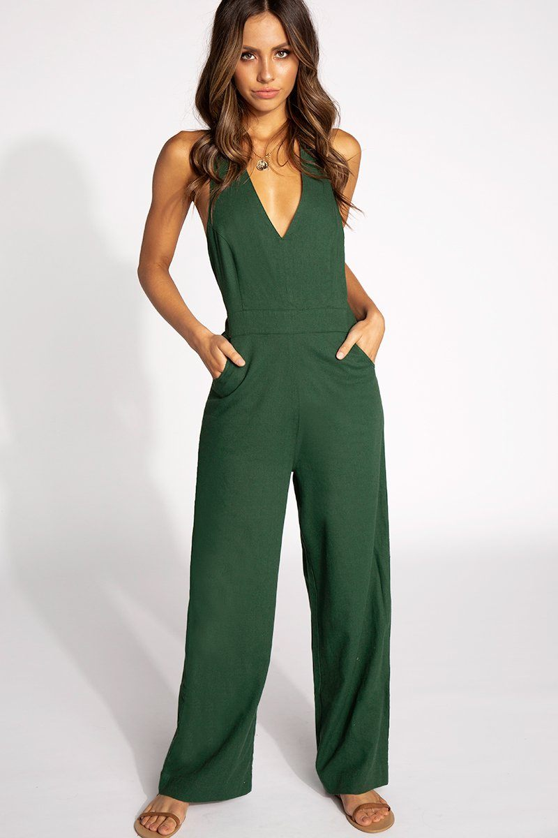 OLD MATE LINEN JUMPSUIT Clothing ROLLAS XL GREEN