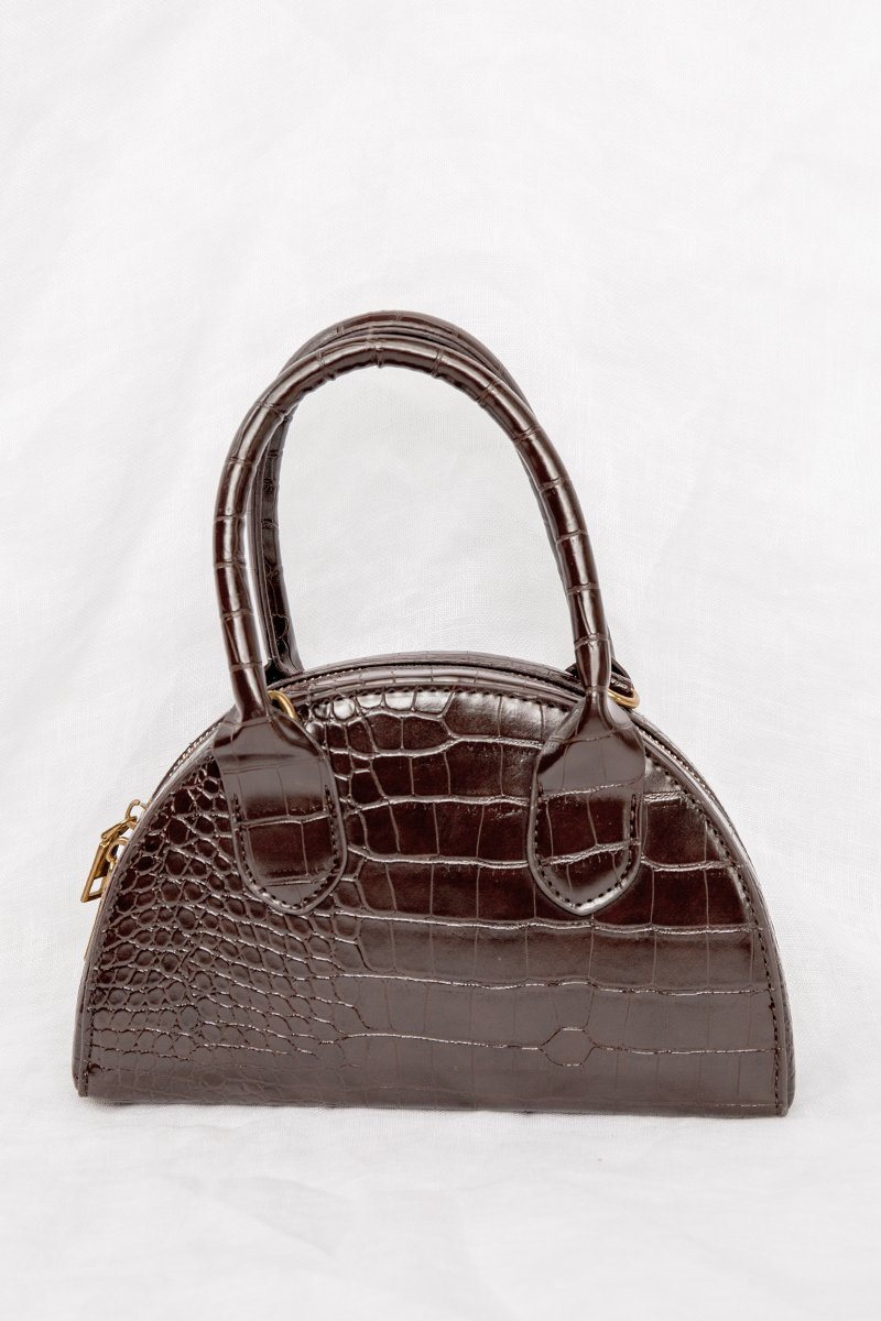 NYC CHOCOLATE BROWN CROC BAG Accessories DISSH Boutiques O/S CHOCOLATE