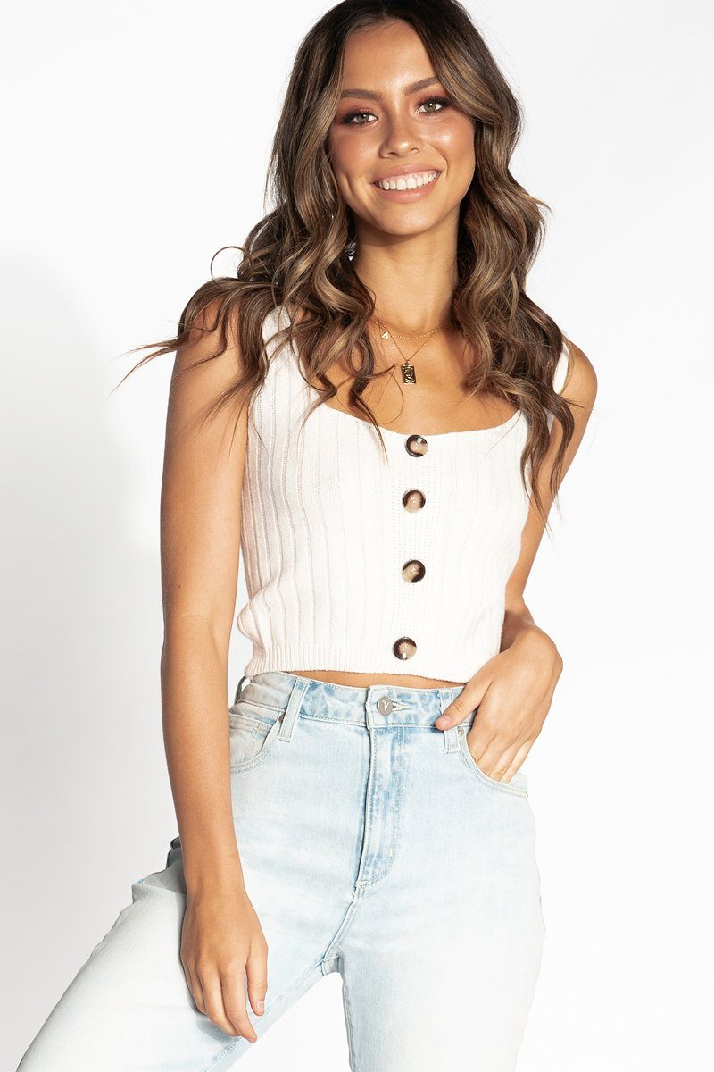 90ae749934b2 ... ADORED BUTTON FRONT WHITE KNIT TOP Clothing DISSH Boutiques ...
