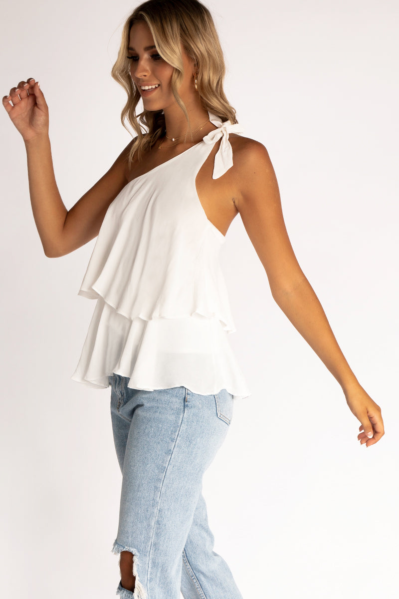 ffb6cd77524 ... YOUR TYPE CREAM ONE SHOULDER TOP Clothing DISSH Boutiques ...