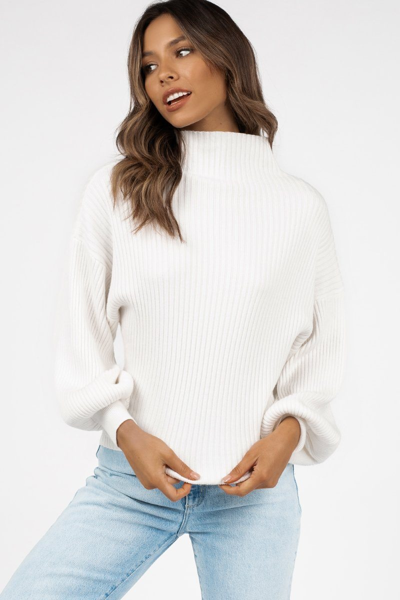 BEAU WHITE BALLOON SLEEVE KNIT JUMPER Clothing DISSH Boutiques S WHITE