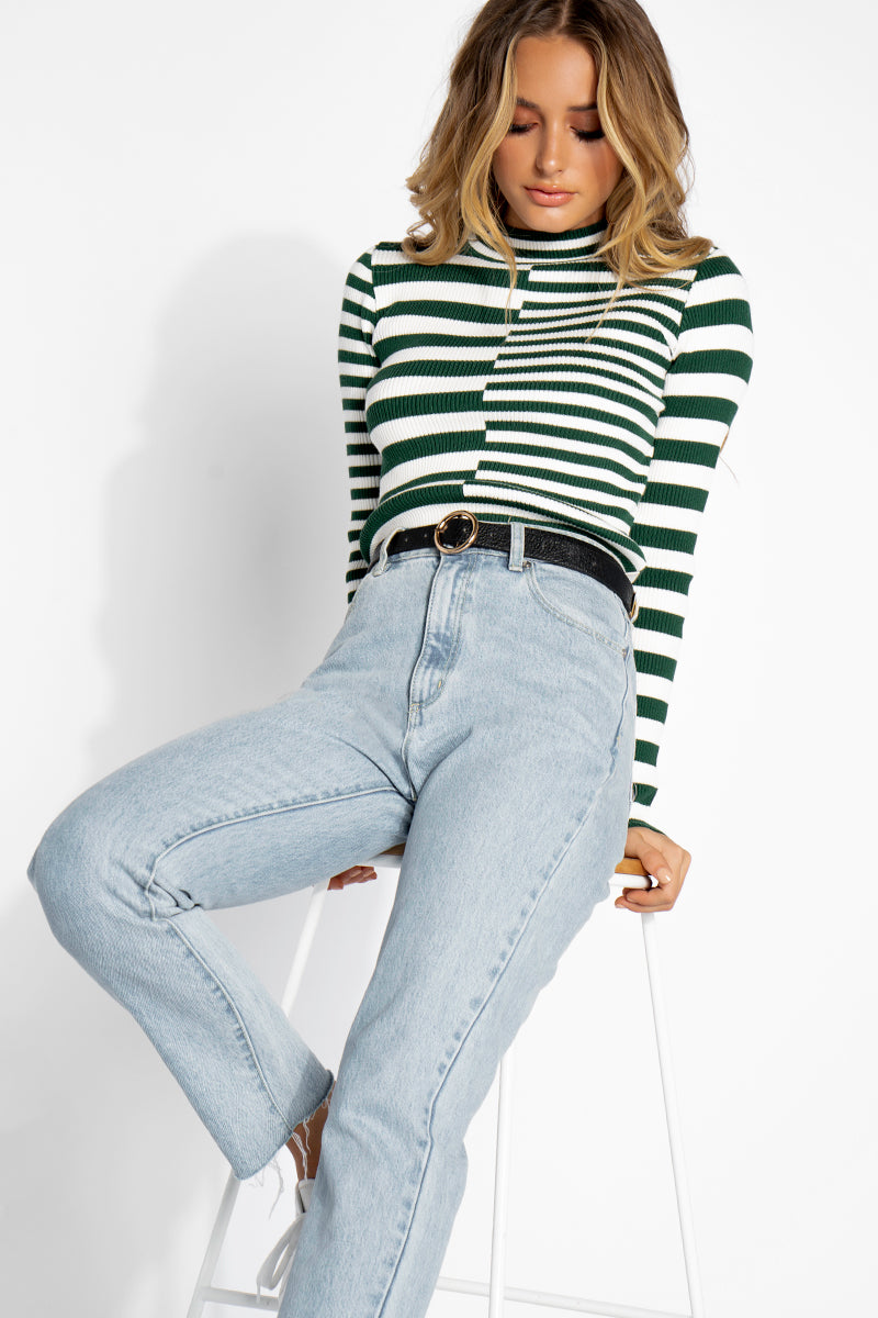 ABOUT YOU STRIPED KNIT TOP Clothing DISSH Boutiques L/XL GREEN