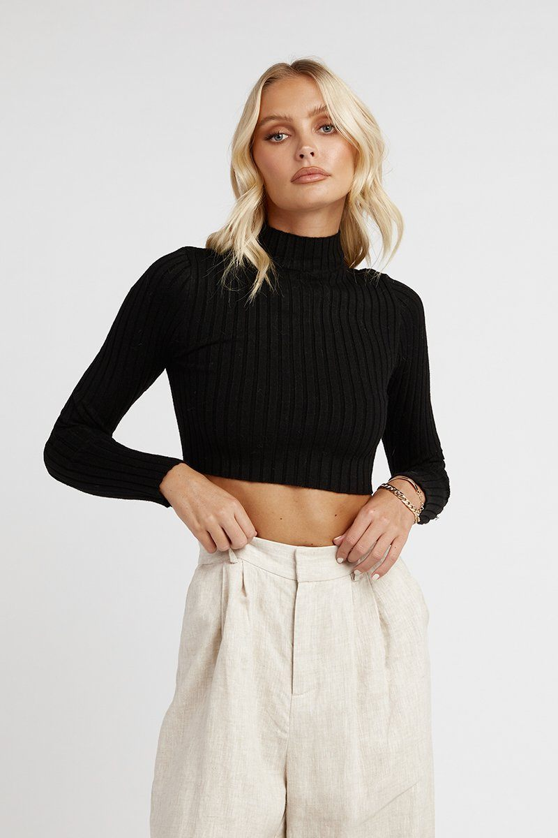MAYA BLACK LONG SLEEVE CROP KNIT TOP Clothing DISSH Boutiques M BLACK