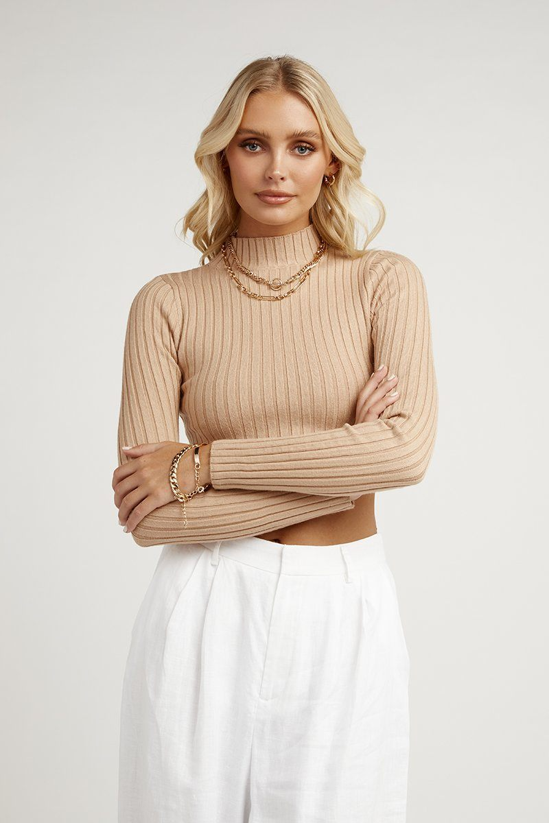 MAYA LATTE SLEEVED KNIT TOP Clothing DISSH Boutiques