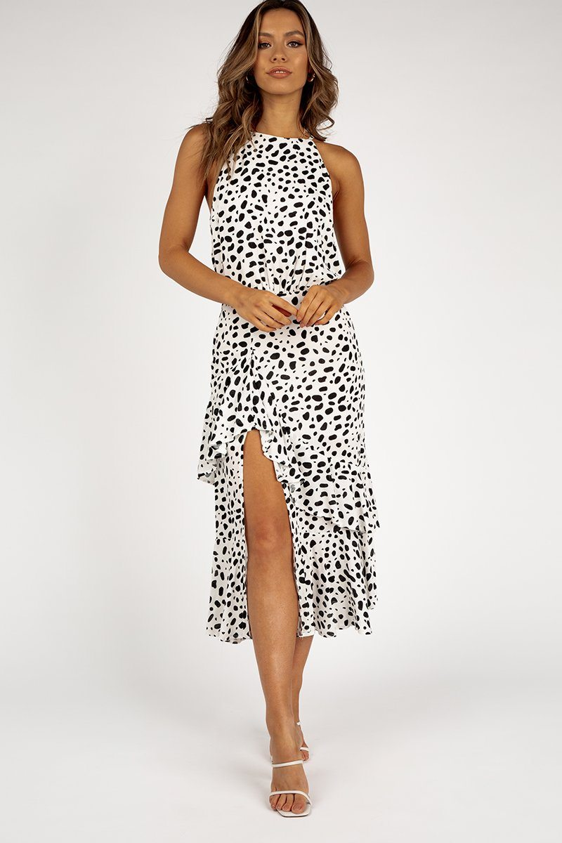 HEAD TO TOE BLACK SPOT MIDI DRESS Clothing DISSH Boutiques 6 WHITE