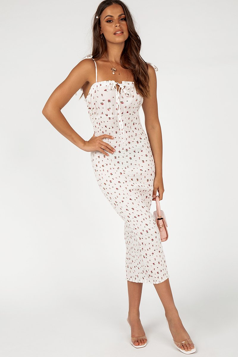 BEST EVER WHITE SHIRRED MIDI DRESS