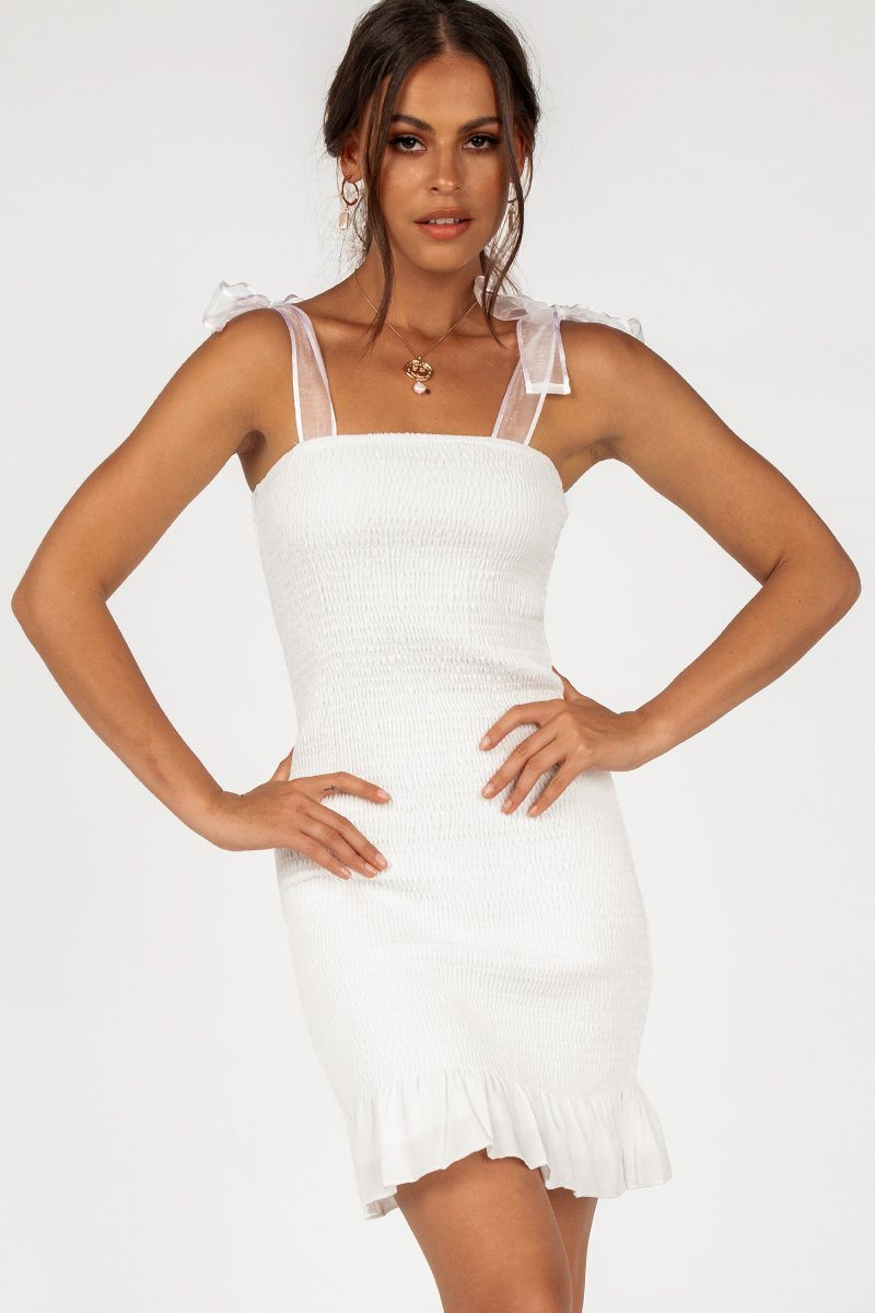 IN THE FRAME WHITE MINI DRESS Clothing DISSH Boutiques M WHITE