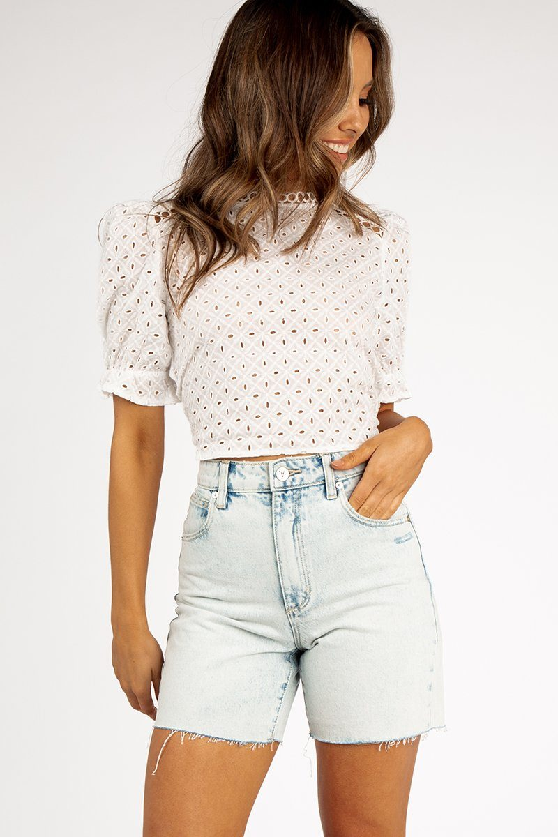 SEPTEMBER WHITE WOVEN CROP TOP Clothing DISSH Boutiques L WHITE