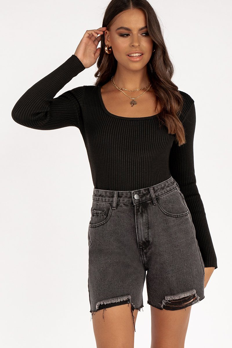 ESTA BLACK SCOOP NECK KNIT TOP Clothing DISSH EXCLUSIVE M BLACK