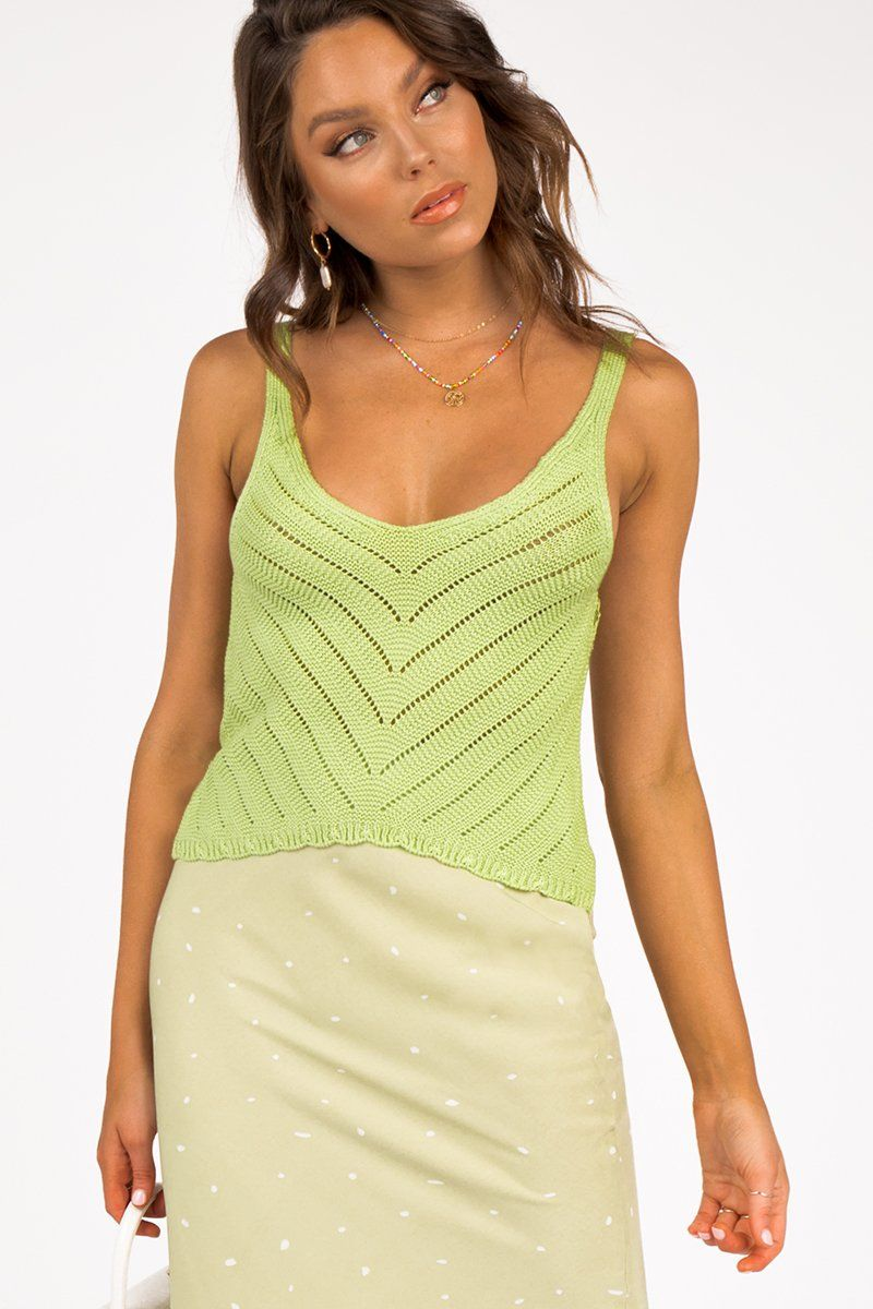 WICKED WINDS GREEN KNIT TOP Clothing DISSH Boutiques M GREEN