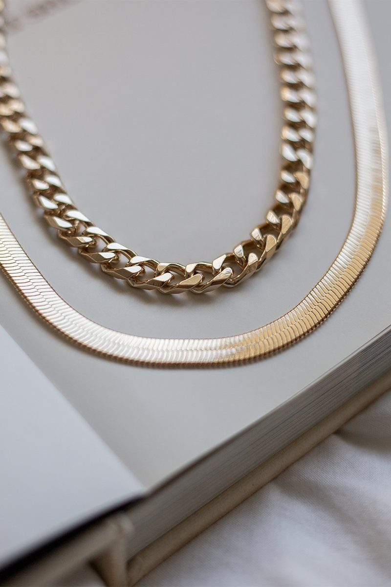 IDA GOLD CHAIN LAYERED NECKLACE Accessories DISSH Boutiques O/S GOLD