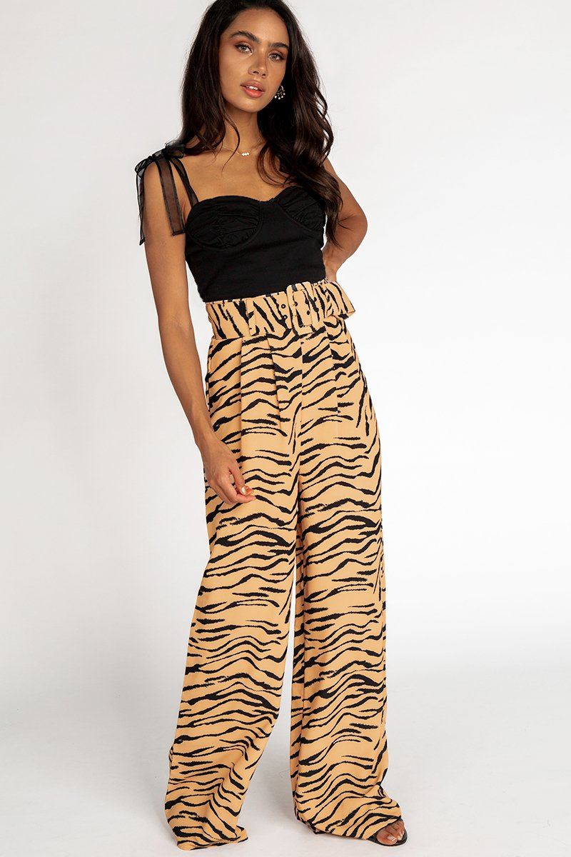 HELOISE TAN TIGER PANT Clothing FINDERS KEEPERS M TAN