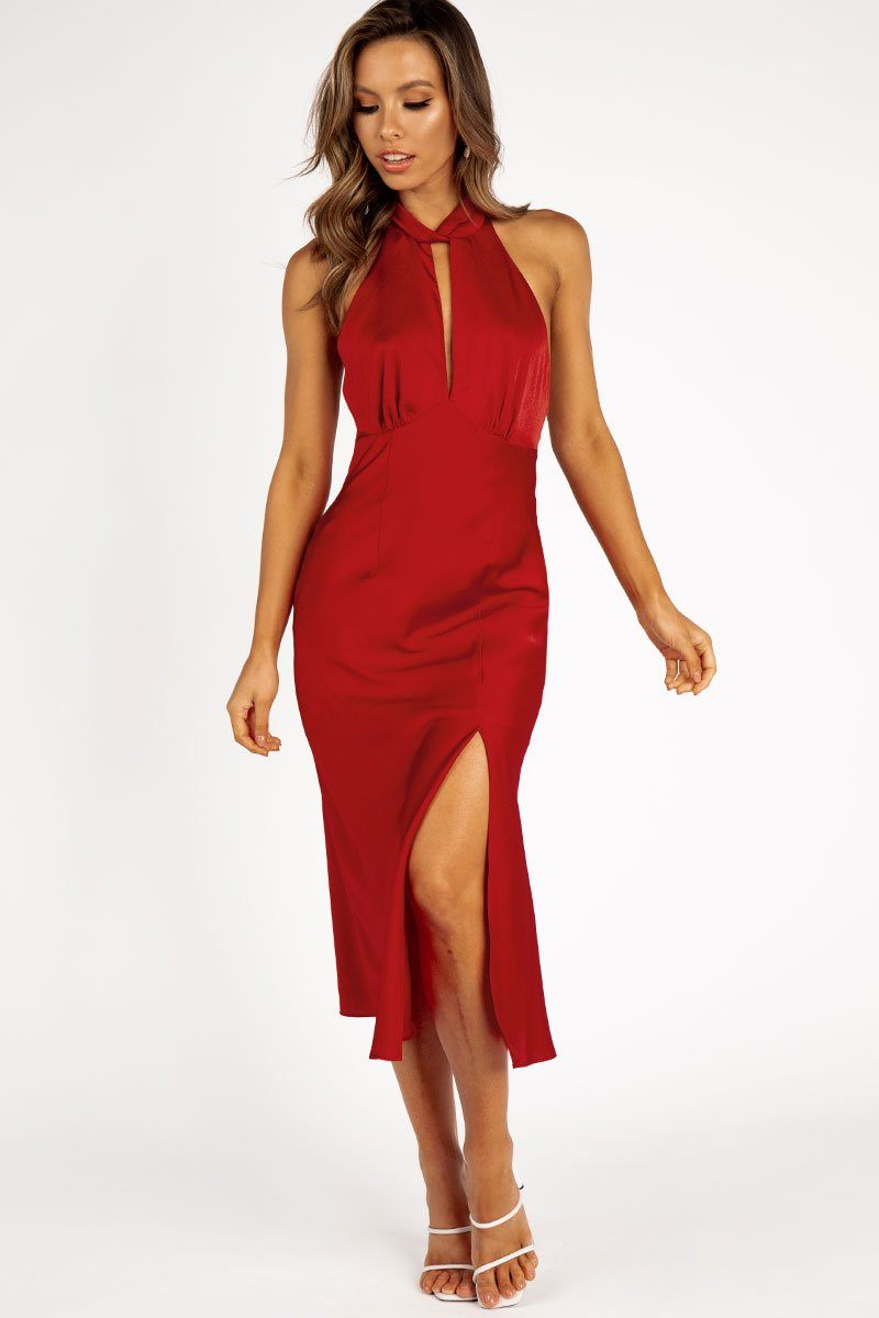 GABRIELLA RED HALTER MIDI DRESS Clothing FINDERS KEEPERS L RED