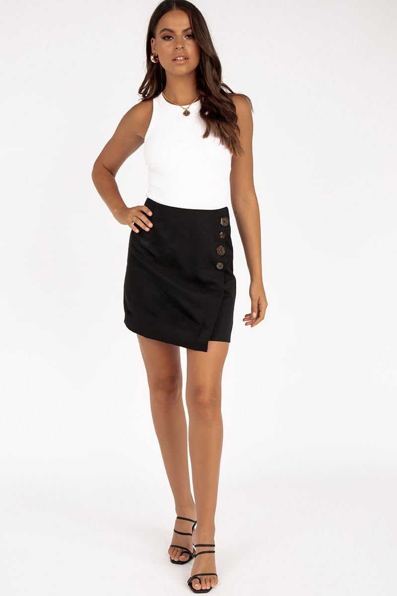 TIA BLACK WRAP MINI SKIRT Clothing FINDERS KEEPERS