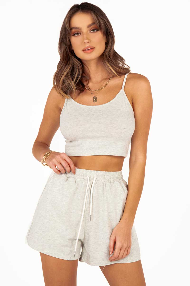 BAMBI GREY COTTON SINGLET CROP TOP Clothing DISSH Boutiques XS GREY